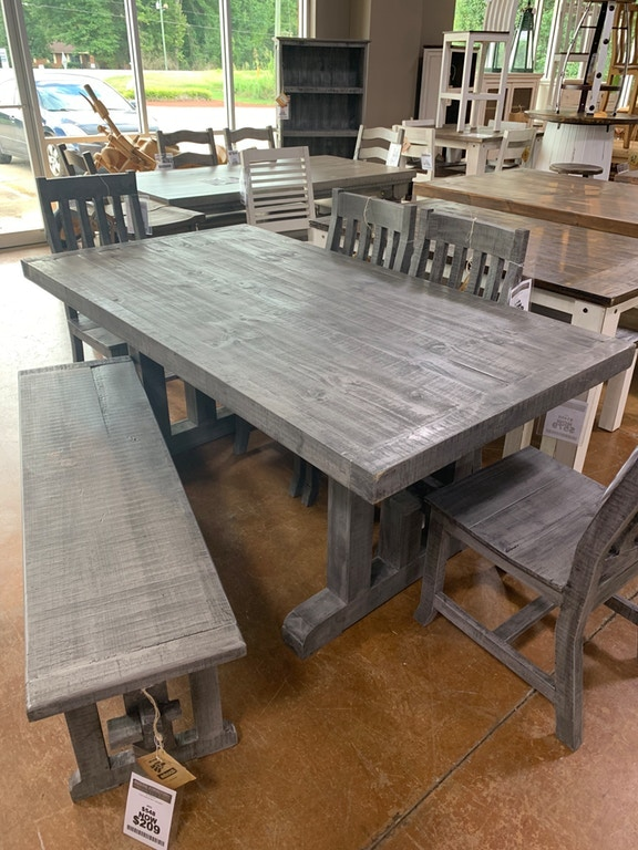 03 2 123a 133 6 set charcoal gray 6 ft table 4 chairs and bench 03 2 123a 133 6 set charcoal gray 6