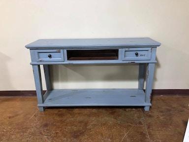 AB-CID153 - Rustic Antique Blue Sofa Table