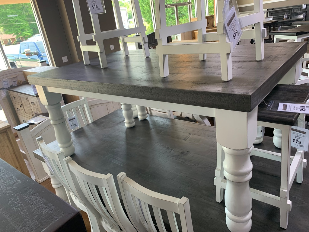 G Don Mes072a Mog 569 Antique White 6 Foot Table With Jumbo Legs Gg Taw