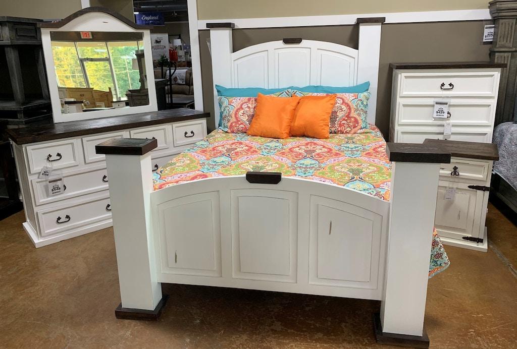 Antique White King Mansion Bedroom Set - King Bed, Dresser, Mirror, Chest,  Nightstand