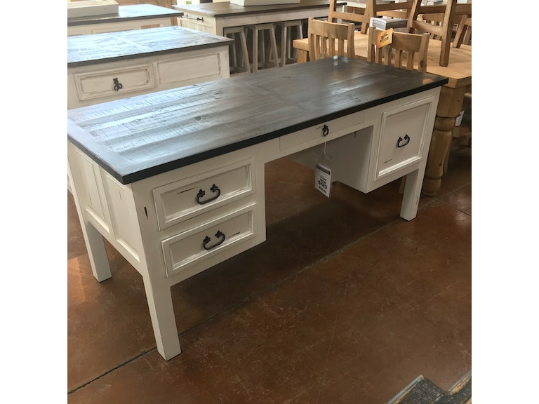 Texas Rustic Rustic Antique White Desk - Four Drawers MO-ESC21 - MO-ESC21 - Rustic Antique White Desk - Four Drawers