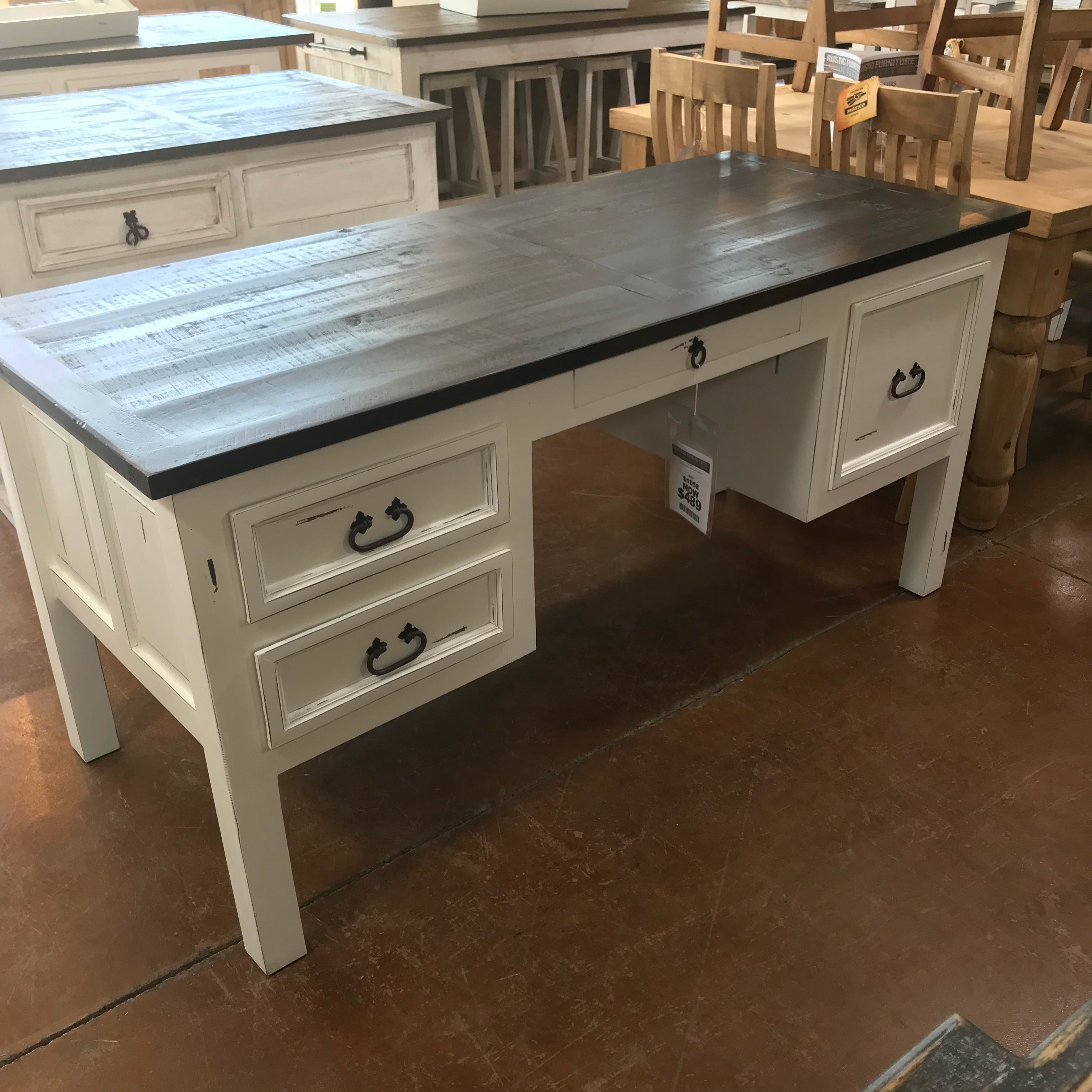 Rustic Antique White Desk   Four Drawers