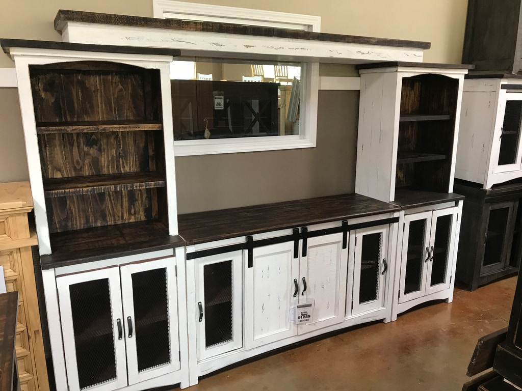Texas Rustic Antique White 4 Pc Entertainment Center With Barn Doors Mo Lib28 At American Oak And
