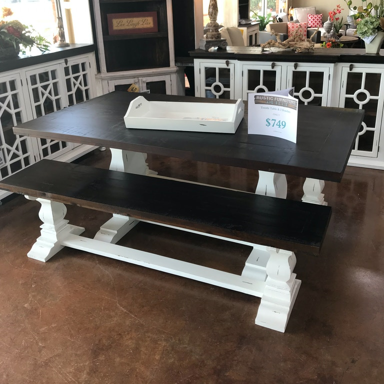 Rustic Antique White Table and (2) Benches