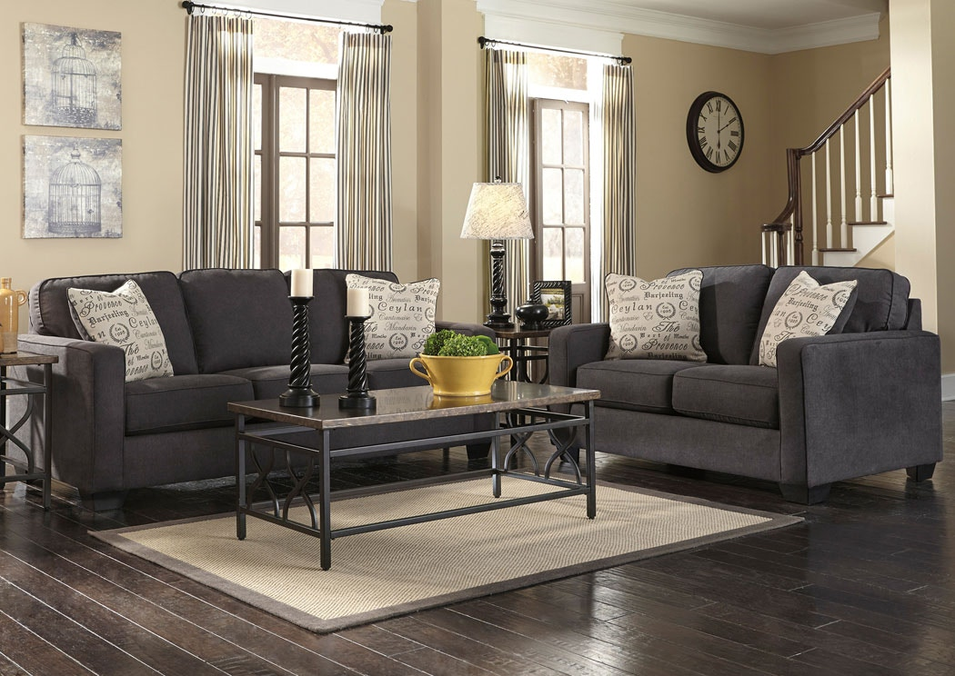 Signature Design By Ashley Alenya Charcoal Sofa/ Love Set 1660135/38