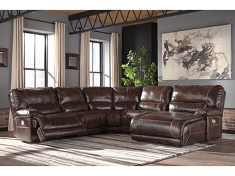 Signature Design By Ashley Living Room 5pc Leather Power Reclining