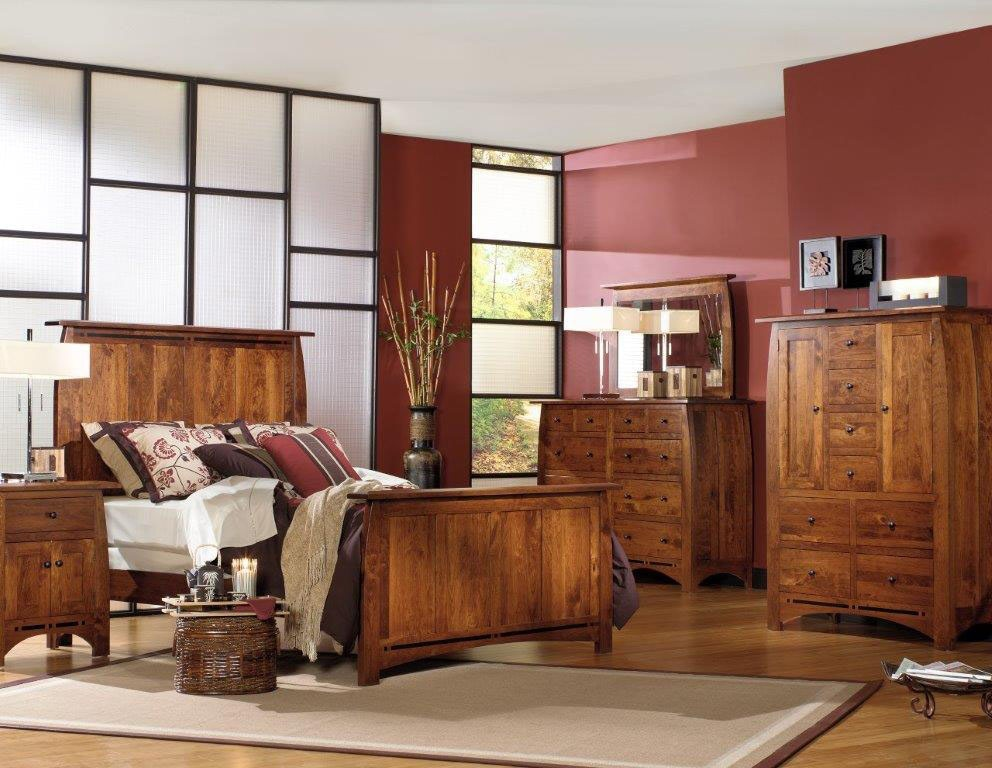 Amish Oak And Cherry Solid Wood Bedroom Group Made In Usa