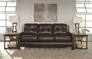 Simply Home By Lindy S Furniture Living Room Leather Sofa By Ashley Furniture 59105 Hickory