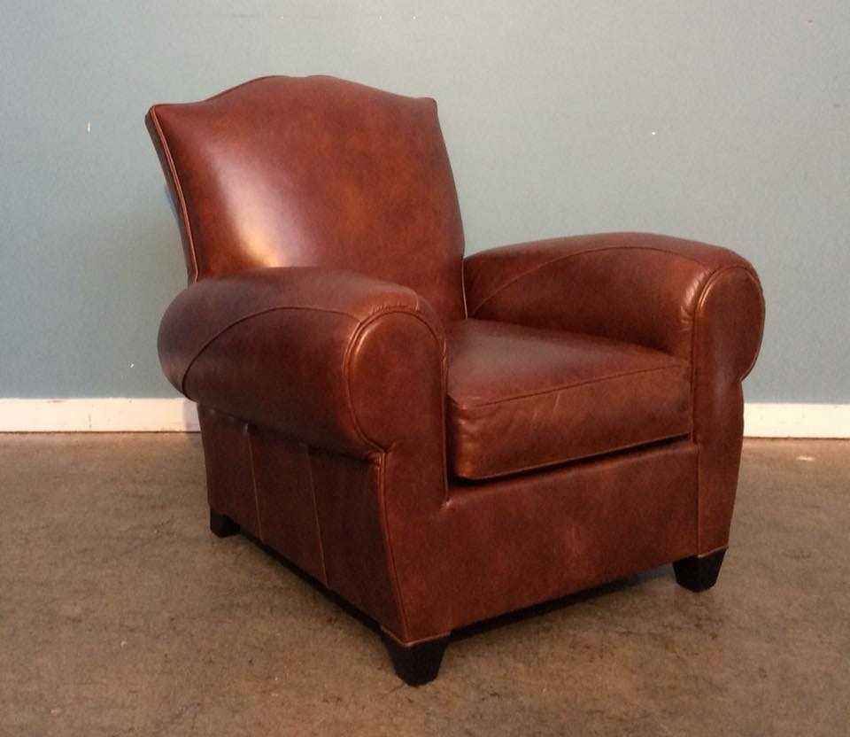 Mitchell Gold + Bob Williams Factory Outlet Leather Chair In Penland~Tobacco.  Andre