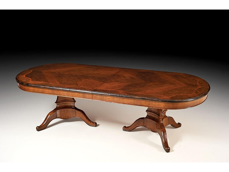 David Michael Furniture Dining Room Solid Walnut Antique Distressed Finish Double Pedestal Table