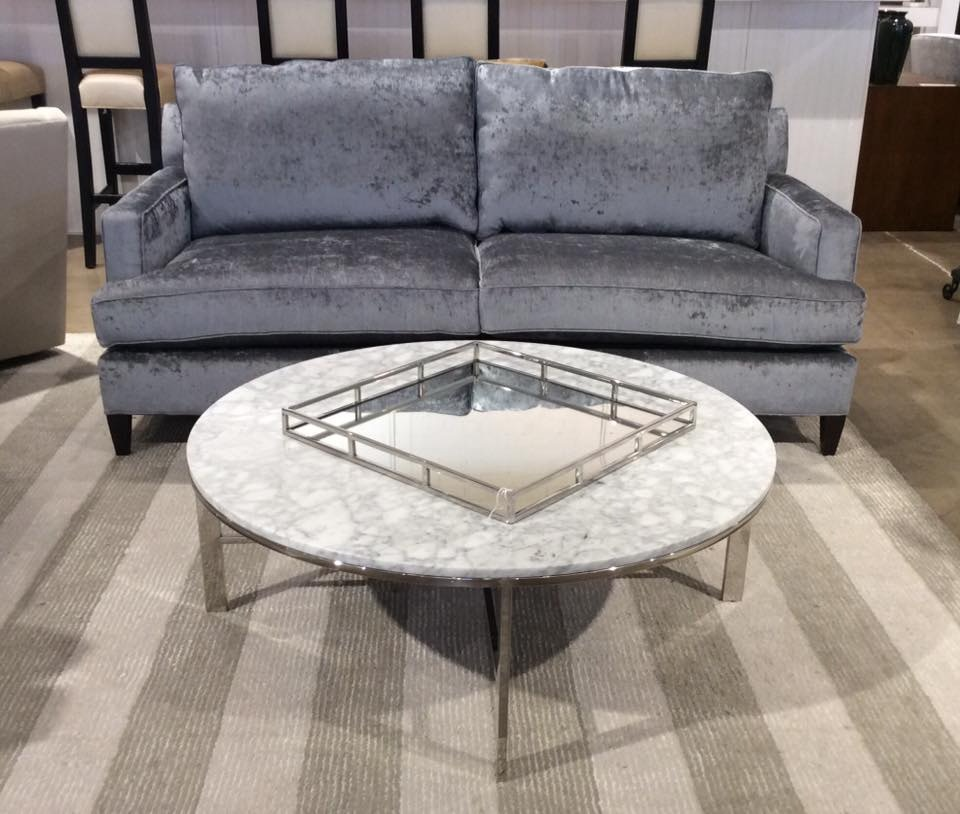 Mitchell Gold + Bob Williams Factory Outlet 75 Sofa In Palma Slate Grey.  Charlotte