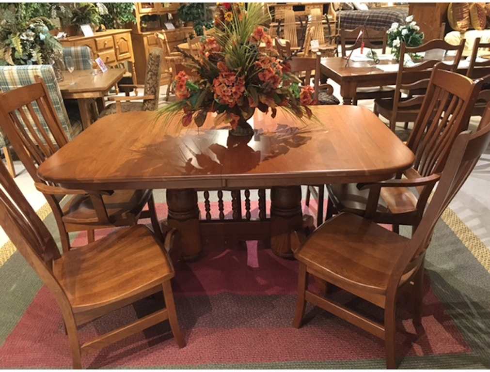 Terrific Amish Oak And Cherry Dining Room 44 X 66 Double Pedestal Beutiful Home Inspiration Aditmahrainfo