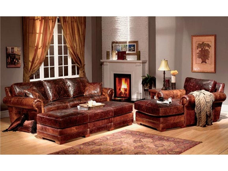 Leather and More Living Room Top Grain Leather Sofa and ...