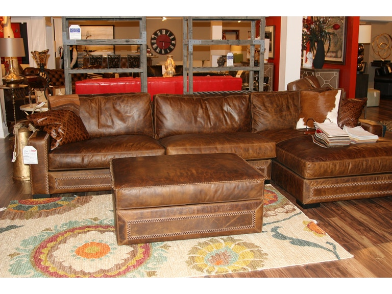 Eleanor Rigby Home Living Room Leather Sectional And Storage Ottoman By Sku Downtown 2 Is Available At Hickory Furniture Mart In
