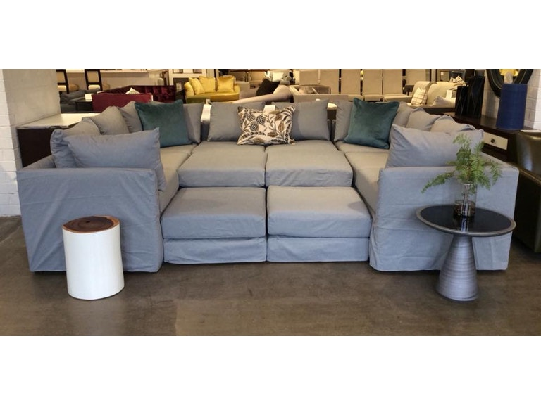Mitchell Gold Bob Williams Factory Outlet 7 Piece Slipcovered Sectional In Chambray Charcoal Dr