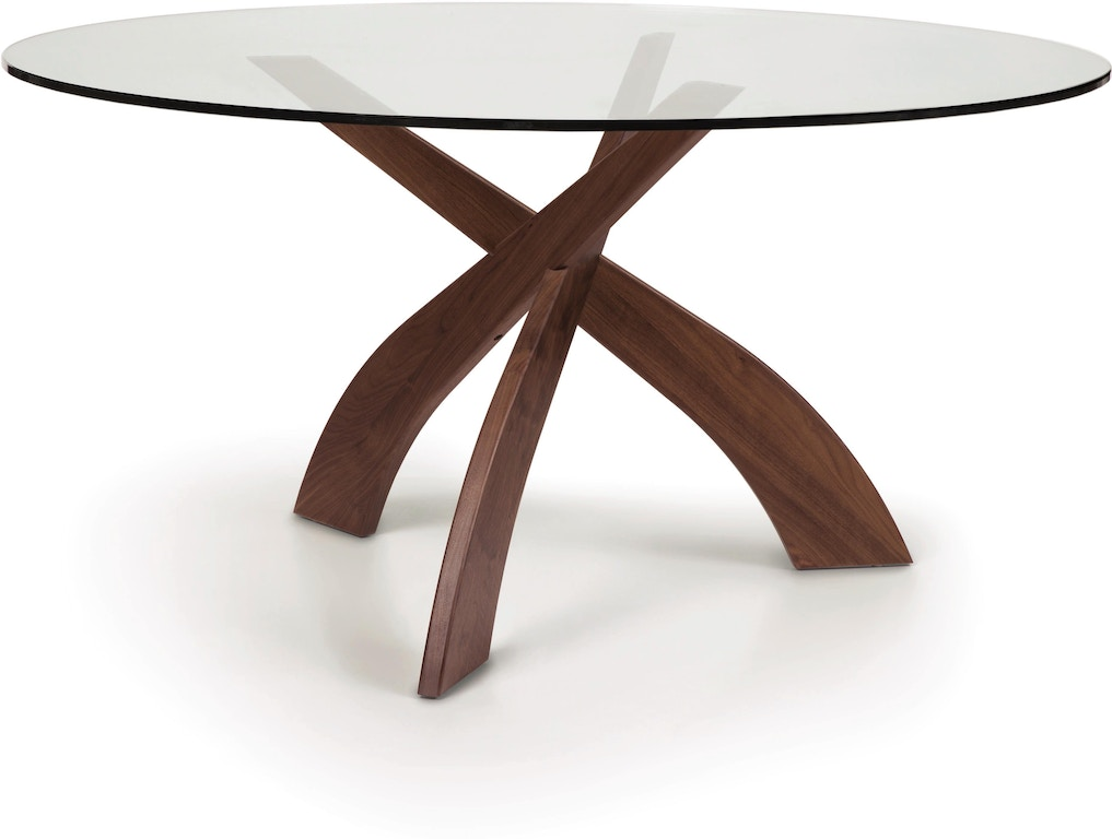 Copeland Furniture Dining Room Entwine 60 Round Glass Top Table 6 Ent 60 04 Hickory Furniture