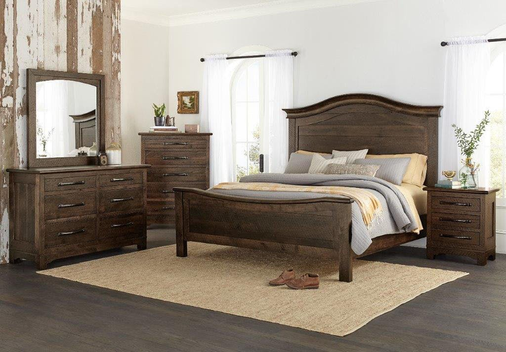 Amish Oak And Cherry Solid Wood King Bedroom Group Farmhouse Signature Hickory Furniture Mart
