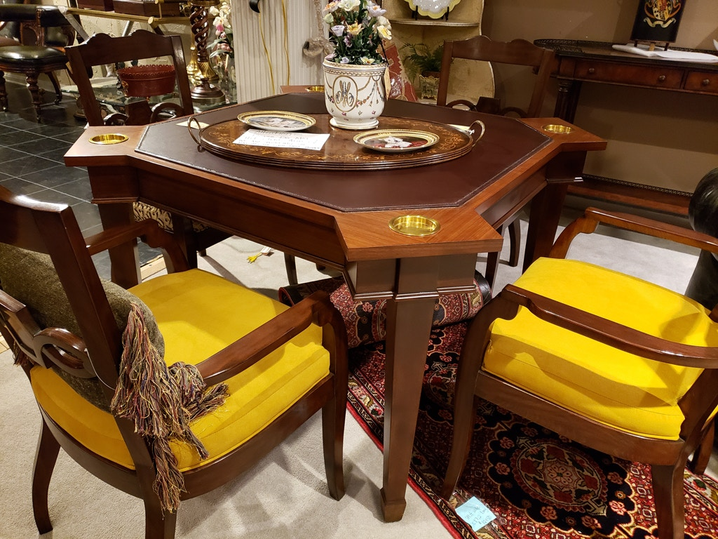The Lion\'s Den Interiors Dining Room Game Table and Four ...