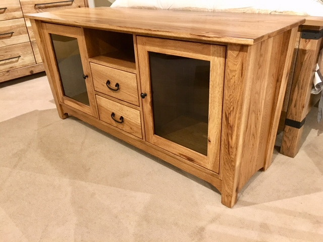 Amish Oak And Cherry Home Entertainment Rustic Hickory TV Console (SKU:  Hickory Console) Is Available At Hickory Furniture Mart In Hickory, ...