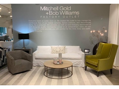 Mitchell Gold Bob Williams Factory Outlet 90 Slipcovered Bench Seat Sofa In Denim Bleached