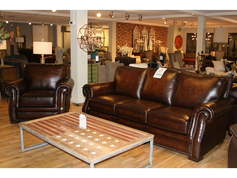 Reflections Furniture Outlet Leather Living Group With Nail Head Sofa And Chair Group1