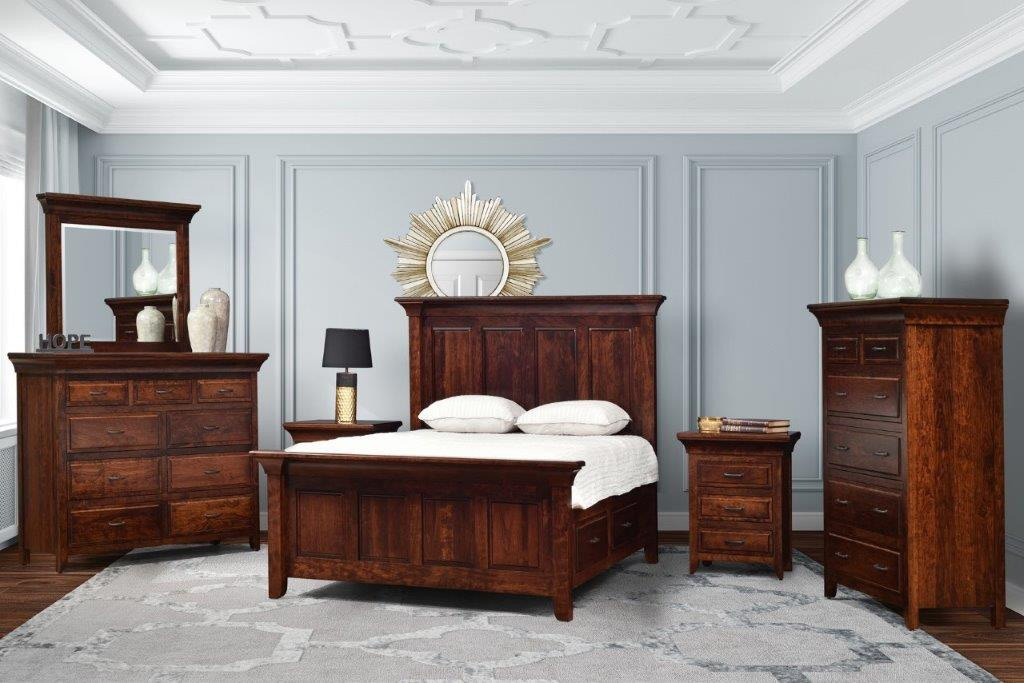 Amish Oak And Cherry Solid Wood Bedroom Group Made In Usa Marcella