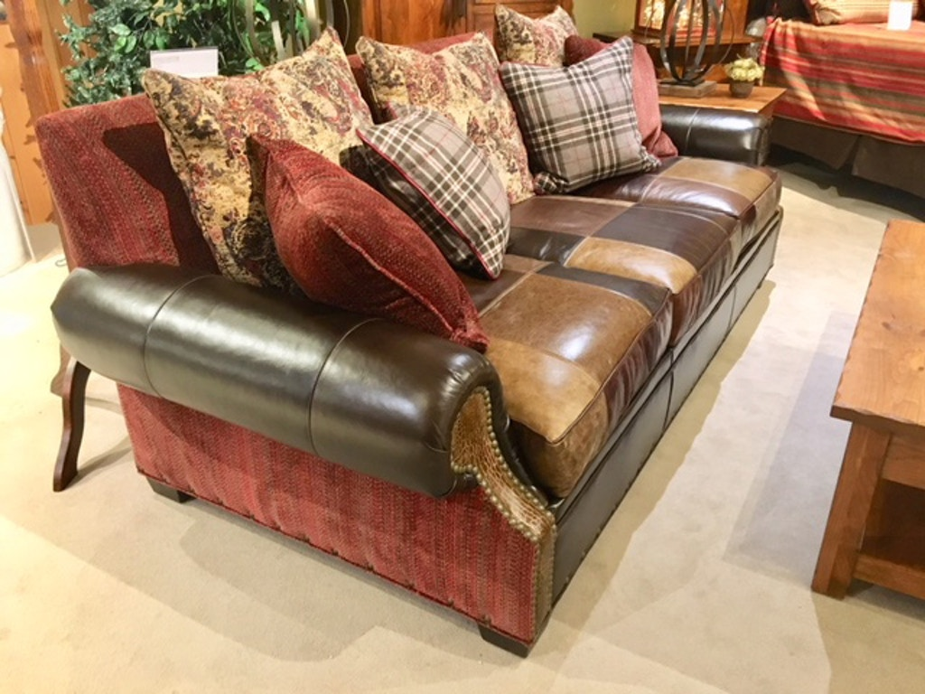 Leather and Fabric Combo Sofa