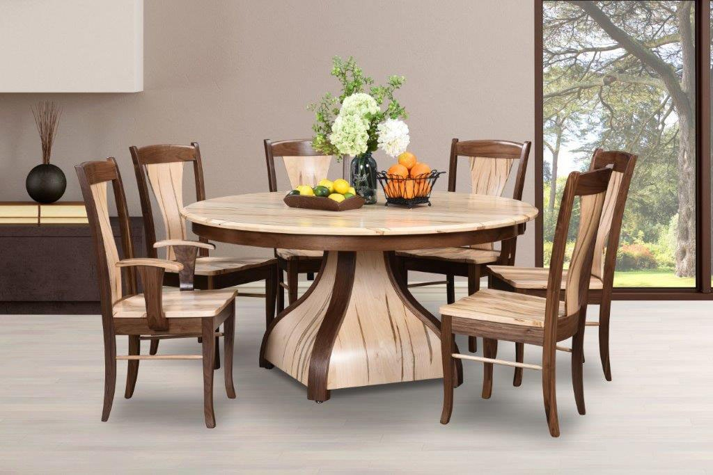Amish Oak And Cherry Solid Wood Dining Group Buckingham