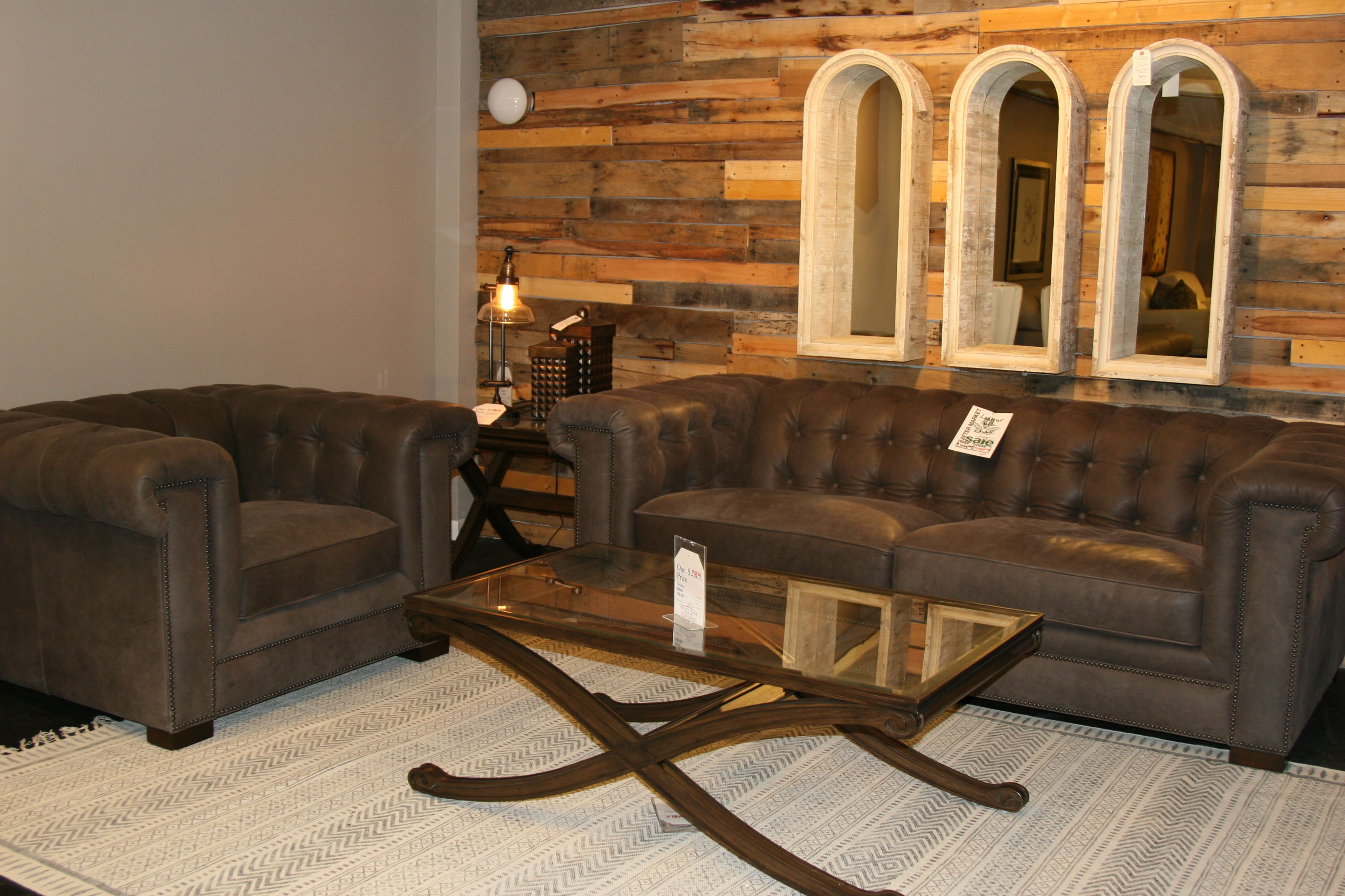 Reflections Furniture Outlet Living Room Leather Tufted Back Sofa