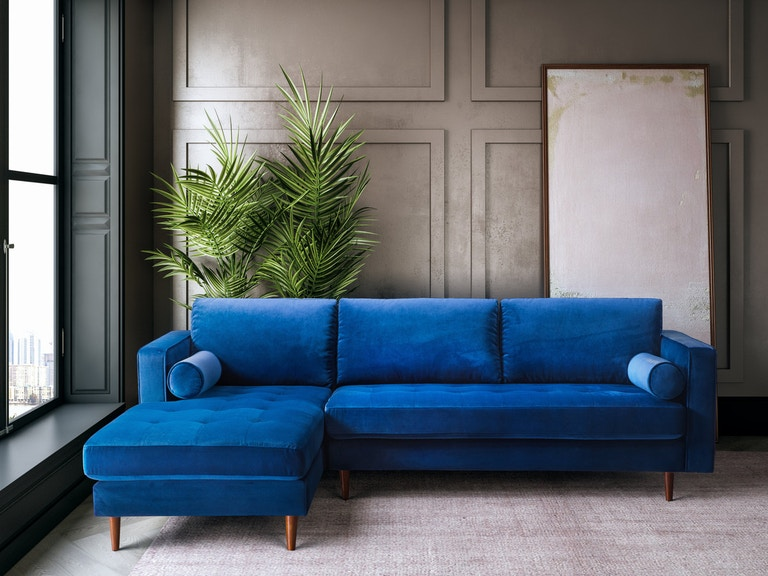 Tov Furniture Living Room Como Navy Velvet Sectional Laf Tov L4124