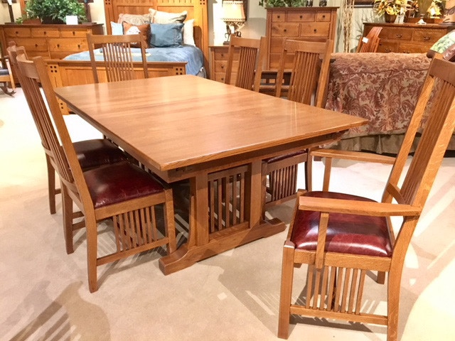 Amish Oak And Cherry Sawn White Oak Mission Dining Group By Zimmerman Chair  Woodland DR