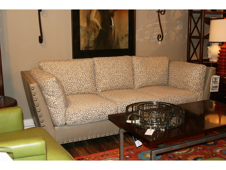 Leather and Fabric Sofa by Whittemore Sherrill