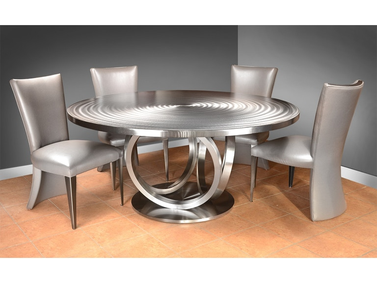 Oios Metals Dining Room 60 Steel Top Table Olympus Round At Grossman Furniture