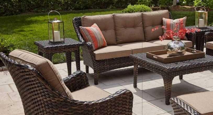 Clearance Bailey Walnut Woven Sofa Set With Sunbrella Fabric Bailey