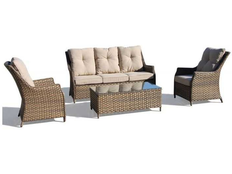 Clearance Piazza 4 Piece Woven Seating Set In A Light Grey