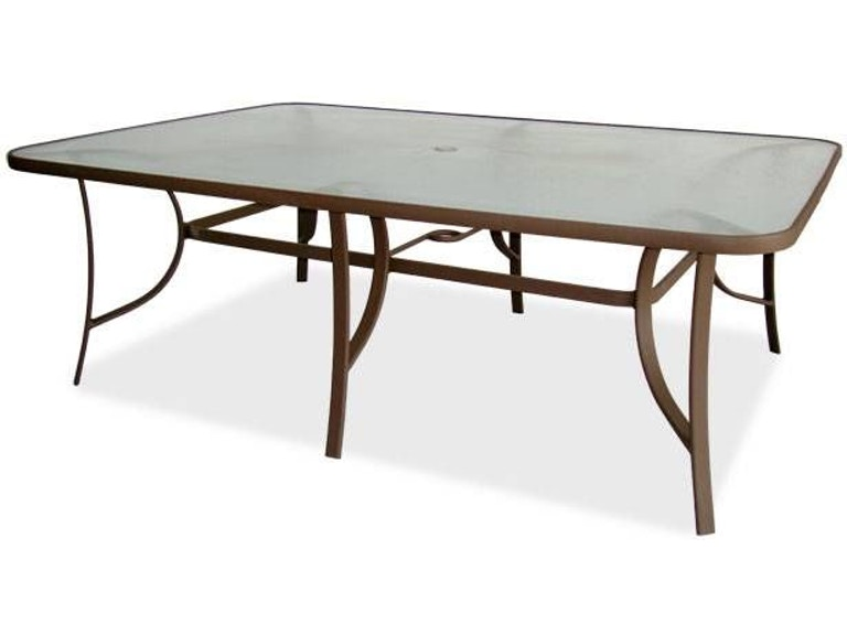 Hideaway Mocha Aluminum 84 X 42 In Rectangular Gl Top Dining Table