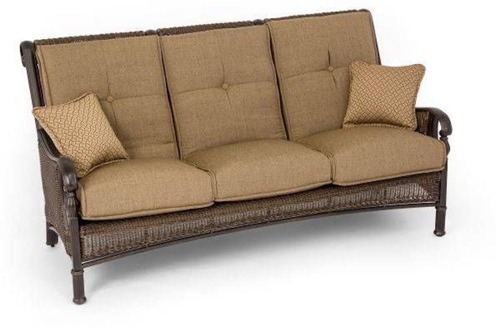 Barcelona Black Gold Aluminum and Woven Outdoor Wicker Sofa