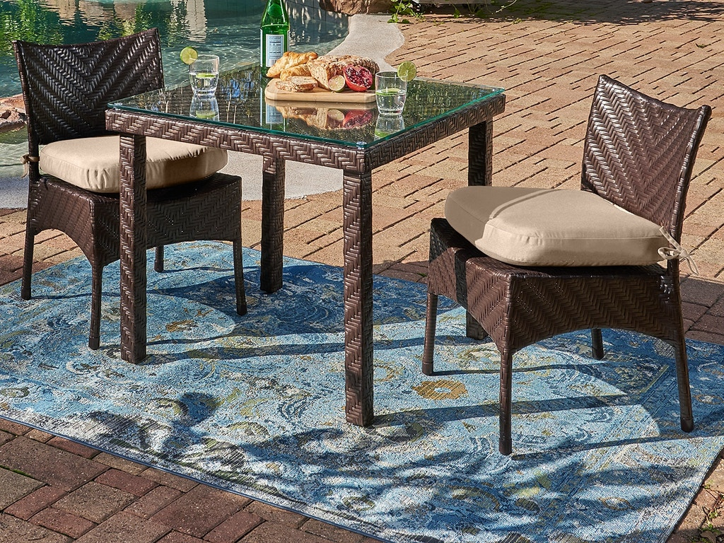 Living Room Martinique Java Brown Outdoor Herringbone Wicker 3 Pc Dining Set With Side Chairs And