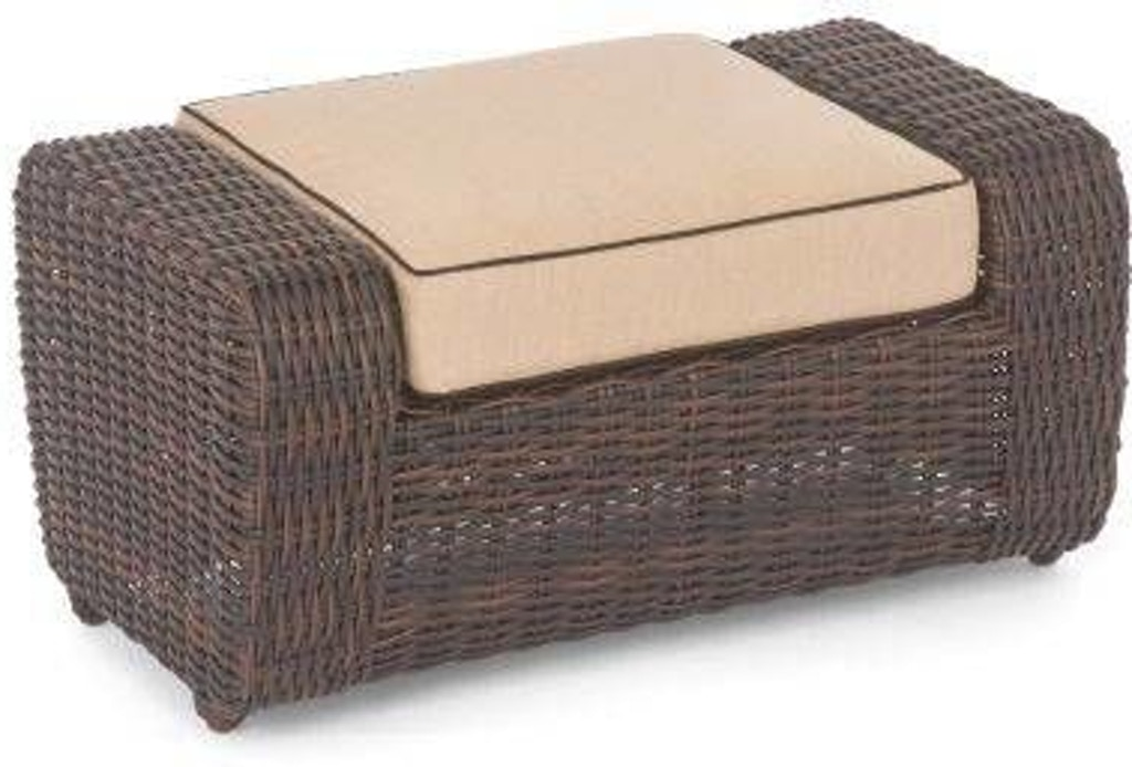 Groovy Biscayne Sangria Woven Outdoor Wicker Cushion Ottoman Creativecarmelina Interior Chair Design Creativecarmelinacom
