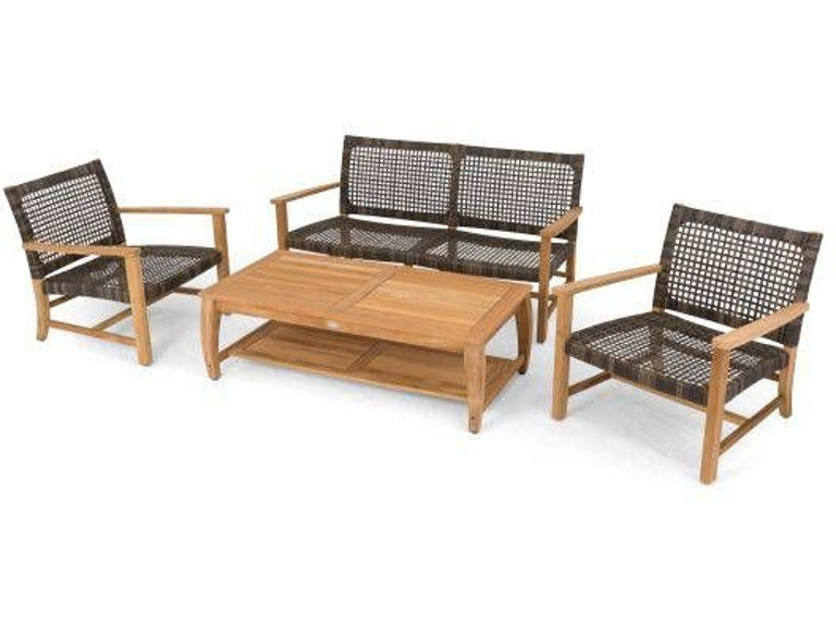 Superb Hampton 4 Pc Loveseat Seating Setwith 55X27 Rectangle Coffee Teak Top Table Evergreenethics Interior Chair Design Evergreenethicsorg