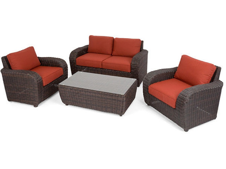 Swell Biscayne Sangria Aluminum And Woven Resin Wicker 4 Pc Cushion Loveseat Set With 48 X 28 Glass Top Coffee Table Alphanode Cool Chair Designs And Ideas Alphanodeonline