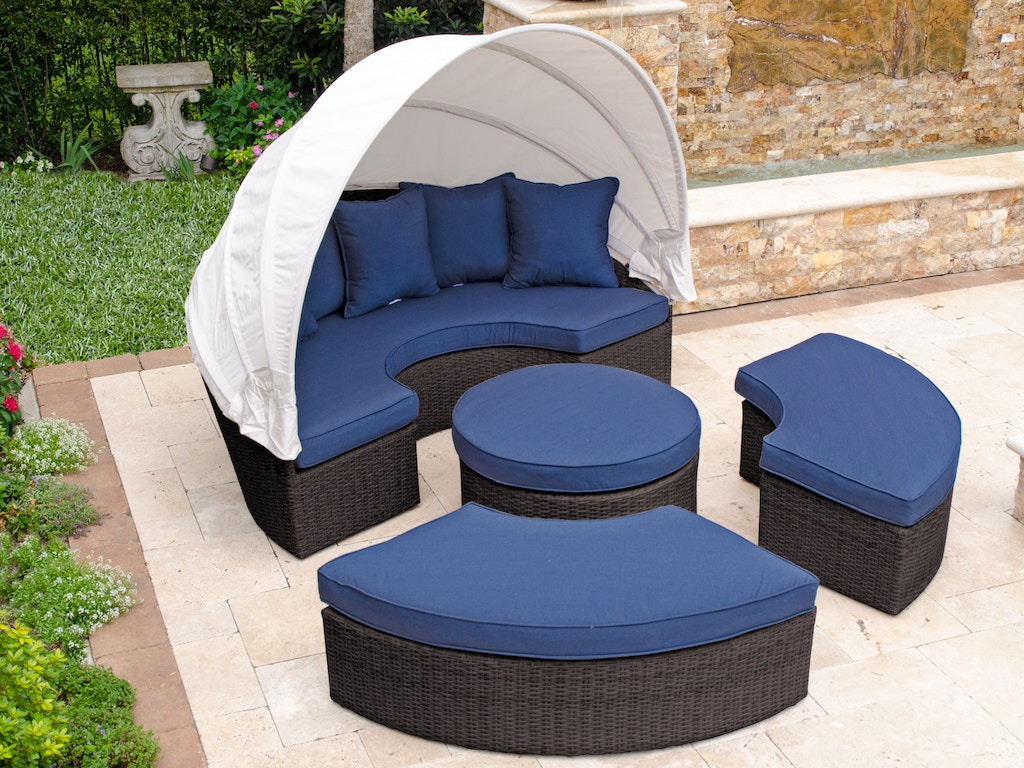 Cool San Lucas Espresso Aluminum And Outdoor Wicker 5 Pc Cushion Daybed With Canopy Cjindustries Chair Design For Home Cjindustriesco
