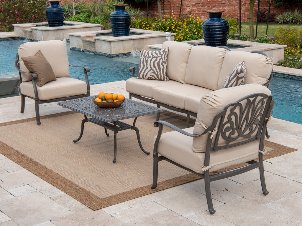 Marvelous Cadiz Saddle Grey Cast Aluminum 4 Pc Cushion Sofa Seating With 42 X 24 In Coffee Table Home Interior And Landscaping Ponolsignezvosmurscom