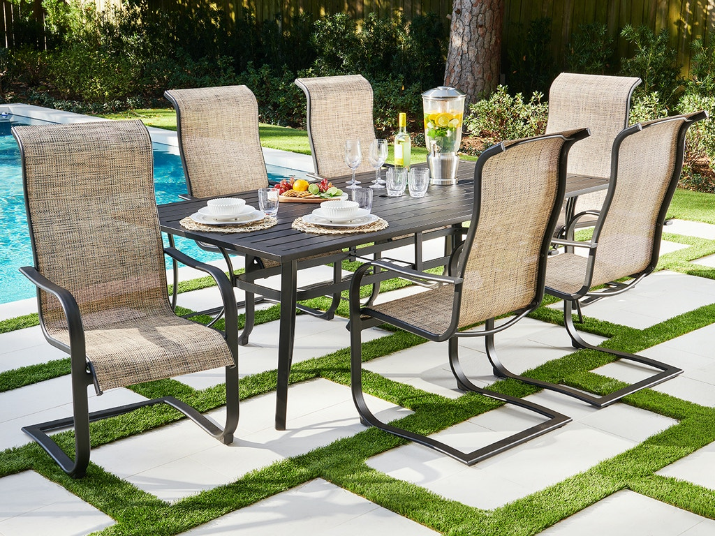 Living Room Cape Coral Java Aluminum And Desert Wicker Sling 7 Pc Dining Set With 84 X 42 In Slat