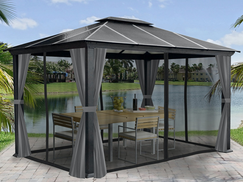 Outdoor Patio Monterey 12 Ft X 16 Ft Aluminum Hard Top Gazebo With Privacy Panels And Mosquito