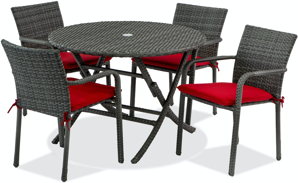 Havana Saddle Grey Aluminum and Outdoor Wicker 5 Pc. Dining Set with 42 in.  Dining Table