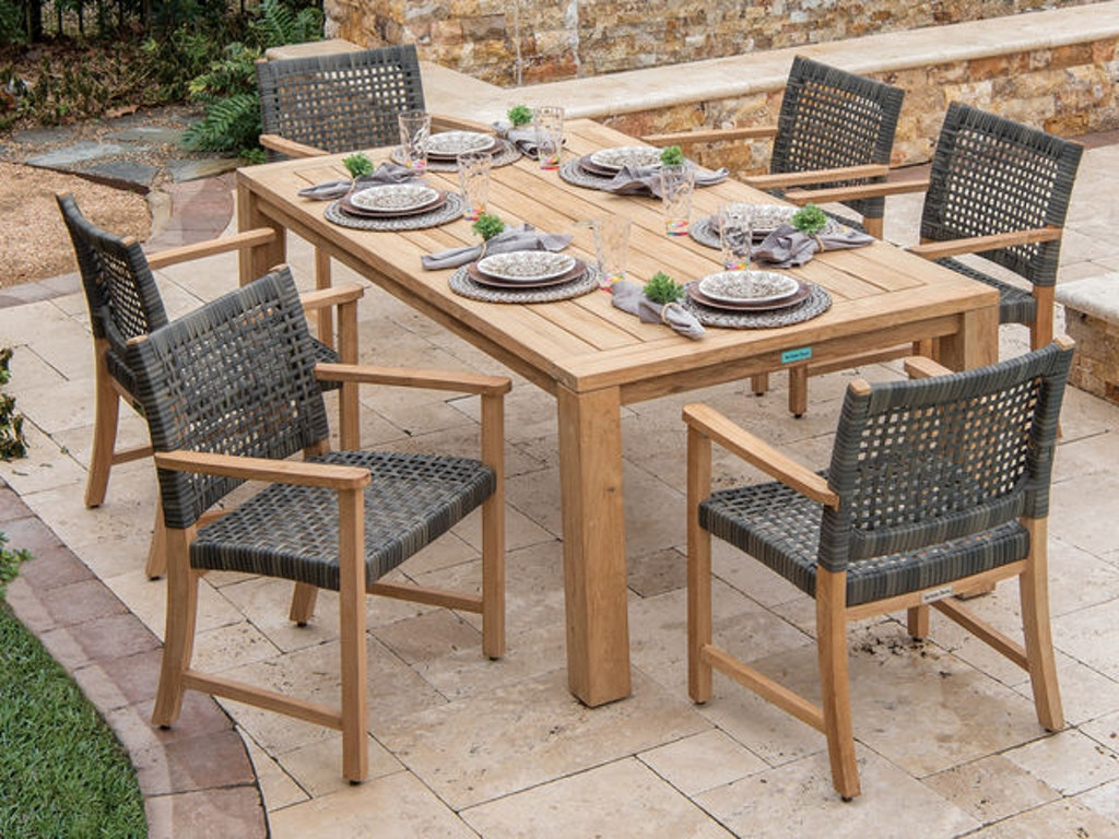 Enjoyable Hampton 7 Pc Solid Teak Woven Resin Wicker Dining Set With 79 X 43 Rectangular Reclaimed Solid Teak Table Ncnpc Chair Design For Home Ncnpcorg
