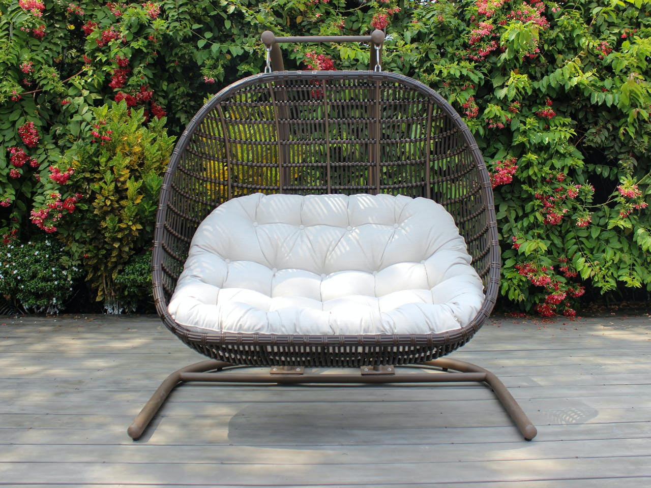 Picture of: Living Room Chocolate Outdoor Wicker With Cast Pumice Cushion Hanging Double Chair Swing 7813746