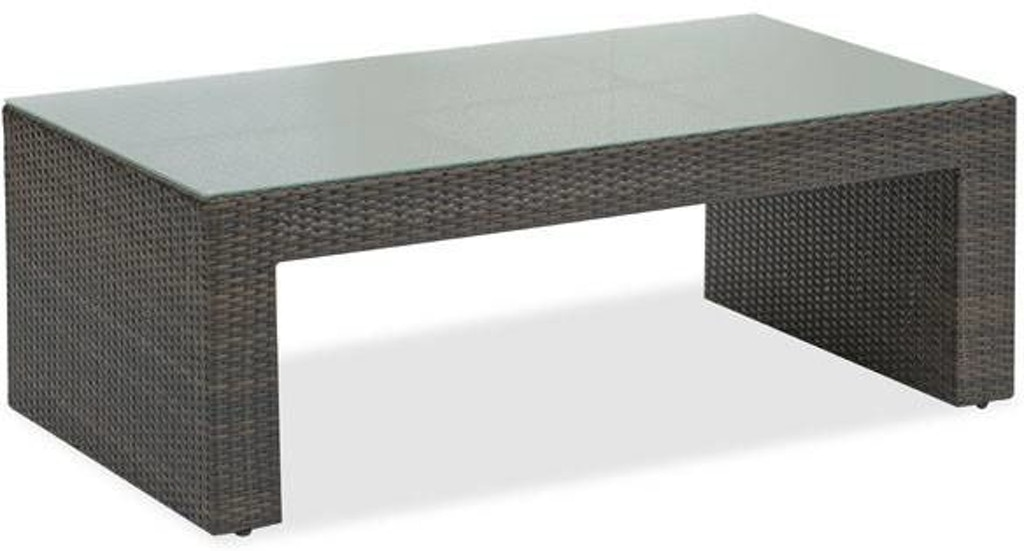 Expresso Coffee Table.Havana Espresso Aluminum And Woven Resin Wicker 52 X 28 In Glass Top Coffee Table