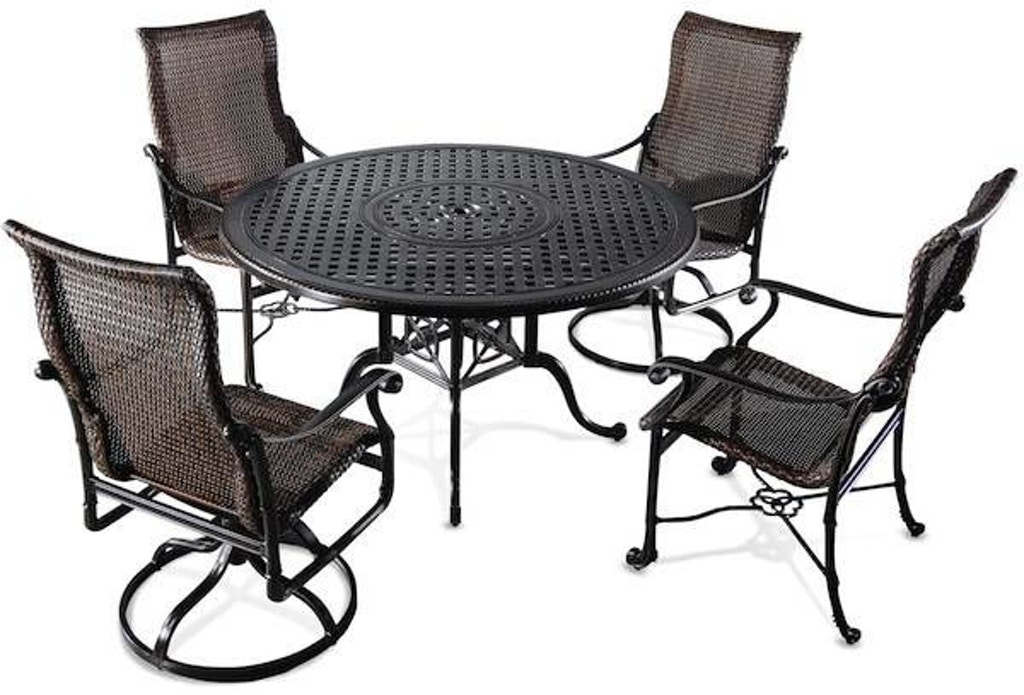 Florence 5 Pc Cast Aluminum And Resin Wicker Dining Set With 48 Round Table